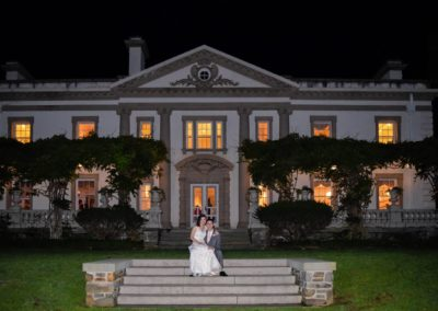 The mansion in the evening with bride & groom - James Trudeau photography